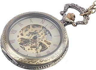 Collar Colgante Reloj de Bolsillo Analógico Mecánico Estilo Vintage Mujer Hombre Latón, 78 cm