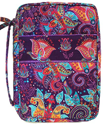 DIWI Quilted Bible Cover Medium Sizes 8.75 X 6.25 X 2.5 Inches Good Book Case (M, C1 Purple Garden)