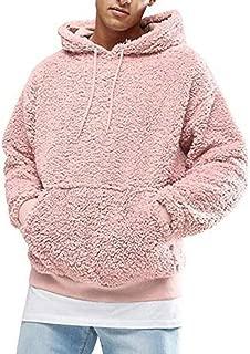 morbida abbigliamento autunno-inverno con tasca frontale a maniche lunghe con cappuccio Felpa sherpa da uomo in pile lanuginoso Hertsen Maglia