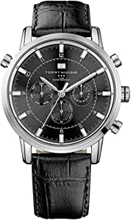 Tommy Hilfiger Harrison Men's Black Dial Leather Band Chronograph Watch [1790875]