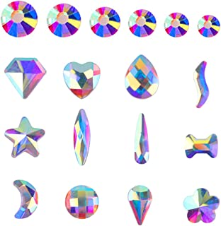 AB Crystal Rhinestones Set (1400+120 pcs) Round & Multi-Shape AB Glass Rhinestone for DIY Nails Art Clothes Shoes Bags Crafts