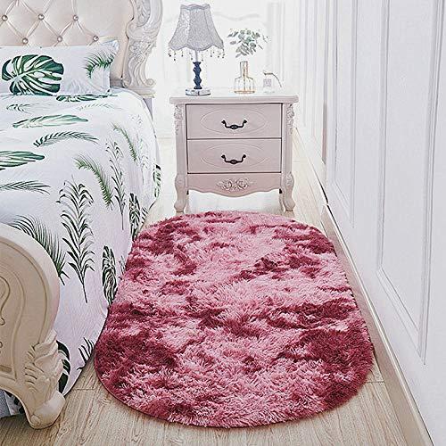 YANGWEI Oval Plüsch Tie-Dye-Teppich Schlafzimmer Nachttisch Bett Vorne Teppich Wohnzimmer Sofa Couchtisch Lange Haare Matte Einfach Modern