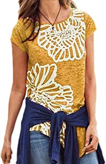 FSSE Women's T-Shirt Round Neck Short Sleeve Floral Printing Plus Size Top Blouse T-Shirt