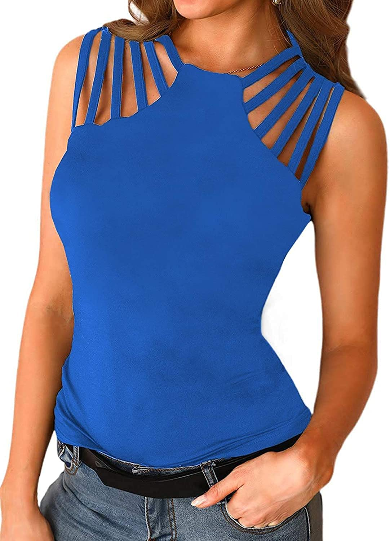 WENXSTAR Summer Sleeveless Cami Cute Sexy Beach Tank Tops for Women Cut Out Tee Shirts