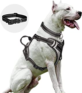 WINSEE Dog Harness No Pull with Dog Collar, Pet Harness Adjustable Reflective Oxford Vest for Large Medium Dogs, Unescapable Outdoor Soft Dog Leash with Handle for Walking, Training, Running, Silver