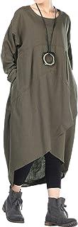 فستان نسائي من القطن والكتان من متجر موردويميس فستان قصير غير منتظم مع جيوب