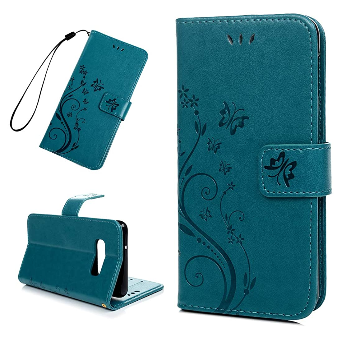 Galaxy S10E Case, Wallet Flip Folio Case Kickstand Card Slots Wrist String 3D Embossed Butterfly PU Leather Wallet Shockproof Soft TPU Bumper Ultral Slim Cover for Samsung Galaxy S10E Lite - Blue