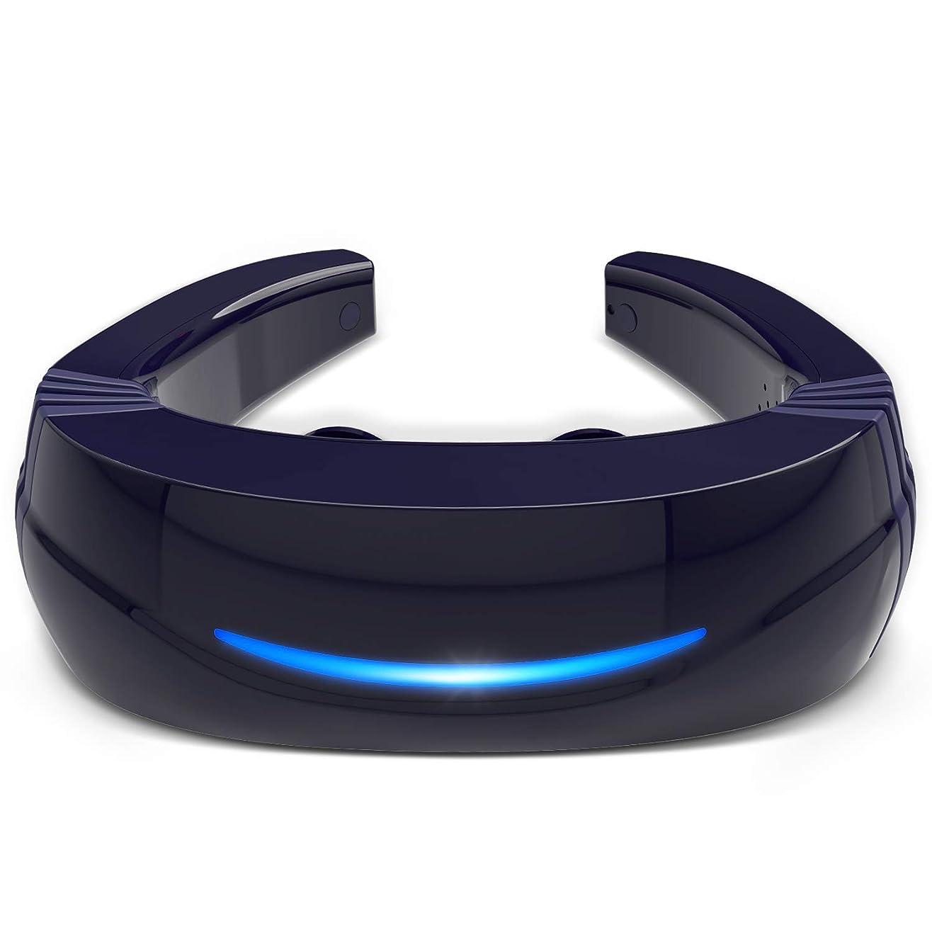 消すボタンチケットHipoo ネックマッサージャー 首マッサージ 低周波 マッサージ器 ストレス解消 USB充電式 日本語説明書 電極パッド2つ付き 音声式