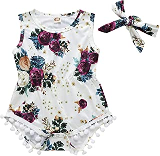 jgashf Summer Sleeveless Bodysuit Bodysuit Kids Sleeveless Rose Print Pompom Lace Ha Yi Toddler Pyjamas + Headband Kids Clothing