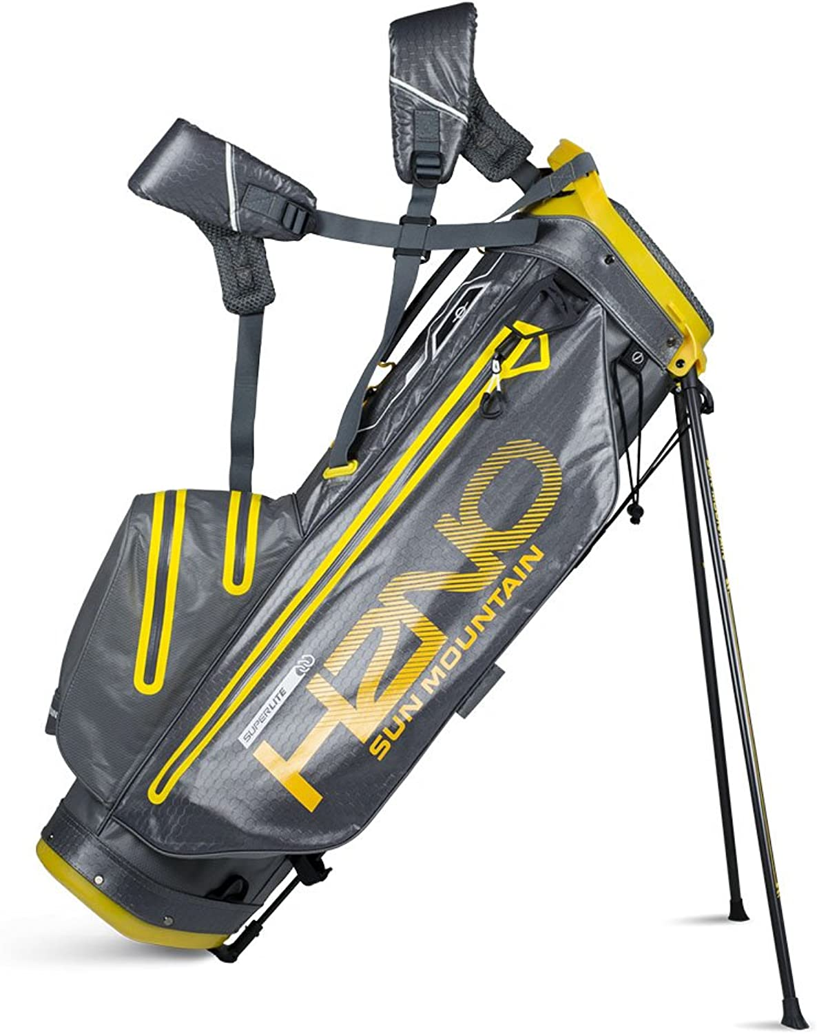 Sun Mountain 2018 H2NO Super Lite Waterproof Stand Bag  Gunmetal Yellow