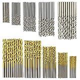 CURTT Juego de 100 brocas en espiral con revestimiento de titanio, velocidad rápida, para abrir agujeros de acero, para trabajos de madera, metal y plástico, herramientas de perforación