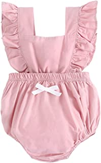 YINOON ベビー ロンパース 女の子 オールインワン 春夏服 肩フリル ふりふり おしゃれ 袖なし ノースリーブ カバーオール 綿 出産祝い 記念写真 ピンク ブルー イエロー