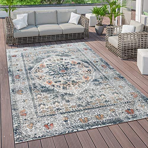 Paco Home Outdoor Teppich Vintage Balkon Terasse, Küchenteppich Flur Läufer versch. Farben u. Größen, Grösse:80x150 cm, Farbe:Blau 2