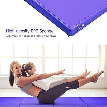 Giantex 4'x10'x2'' Gymnastics Mat, Anti-Tear Folding Gymnastics Exercise Mats w/Carrying Handles, Hook and Loop Faste...