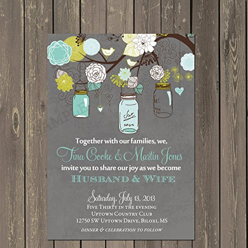 Mason Jar Wedding Invitation, Rustic Wedding Invitation in Grey and Teal with hanging jars, Custom