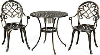 3 Pcs Pool Side Cast Aluminum Chair Table Patio Bistro Outdoor Set w/Removable Ice Bucket - Antique Bronze with Ebook