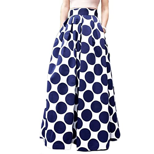 0bad728297f2 PERSUN Women's Casual Contrast Polka Dots Print Long Maxi Skater Skirt w/ Pockets