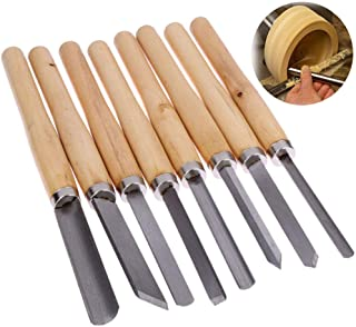 8pcs Wood Lathe Chisel Hand tool Set Woodworking Turning Tools Cutting Carving HSS Steel Blades Wood Lathe Chisel Set Turning Tools Woodworking Gouge Skew Parting Spear