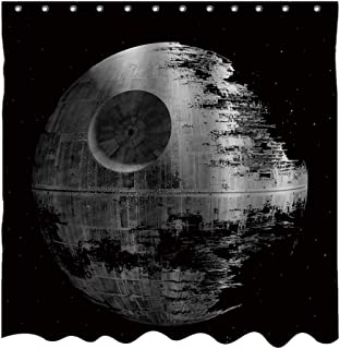 YUYASM Death Star Decor Shower Curtain Fantasy Magic Planet Cosmos Star Wars Black Gray Fabric Bathroom Curtains,Waterproof Polyester Bath Curtain Set with Hooks 70x70 Inch