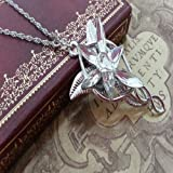 2014 RETRO LOTR LORD OF THE RINGS HOBBIT ARWEN EVENSTAR NECKLACE PENDANT SILVER COLOR by Yongyong