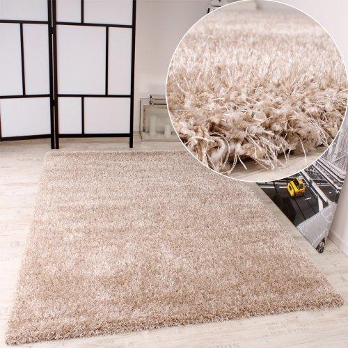Paco Home Shaggy Teppich Hochflor Langflor leicht Meliert Qualitativ u Preiswert Uni Creme, Grösse:160x230 cm