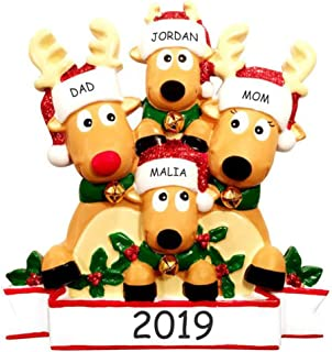 DIBSIES Personalization Station Personalized Cozy Reindeer Family Christmas Ornament (Reindeer Family of 4)