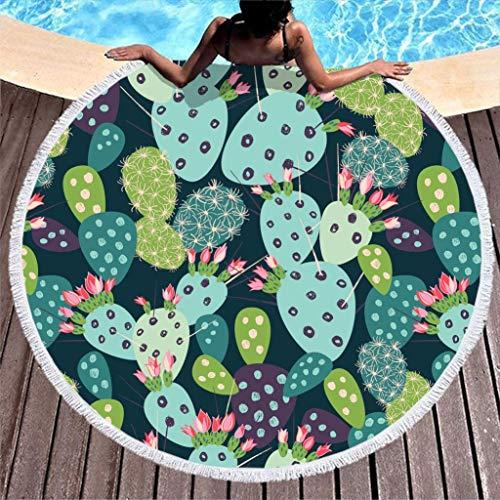 AEMAPE Toalla de Playa de Plantas de Cactus, Manta de Playa de Microfibra Grande Redonda con borlas, Manta de Picnic para la Playa, Tapiz de Tela, Verde, 59 Pulgadas