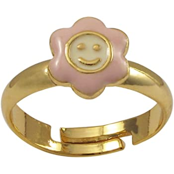 5-6 Ivy and Max Gold Finish Light Pink and White Enamel Small Smiley Face Flower Ring