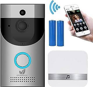 Timbre Inalámbrico Videoportero WiFi interfono con camara pilas y carillón 720P HD CCTV audio bidireccional IR visión nocturna PIR detección movimiento HD 166° ángulo visión APP controlar