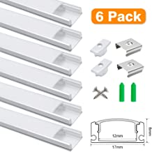 3.3ft/1Meter U-Shape 8x17mm LED Aluminum Channel System, for Interval Width 12mm LED Strip Light with Milky White Cover, Aluminum Channel with End Caps and Mounting Clips, Silver, 6Pack
