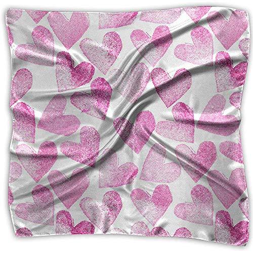 baratos y buenos Pink Love Heart Mujer Elegante Seda Satén Suave Elegante Formal Cuello Cuadrado… calidad