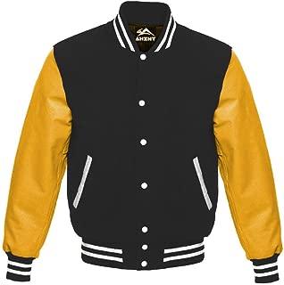 Varsity Letterman Baseball School College University Sportswear Gold Genuine Leather & Black Wool