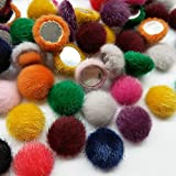Chenkou Craft Random 100pcs 17mm(0.68') Faux Fur Flatback Fabric Covered Button Scrapbooking Craft Assorted of Color
