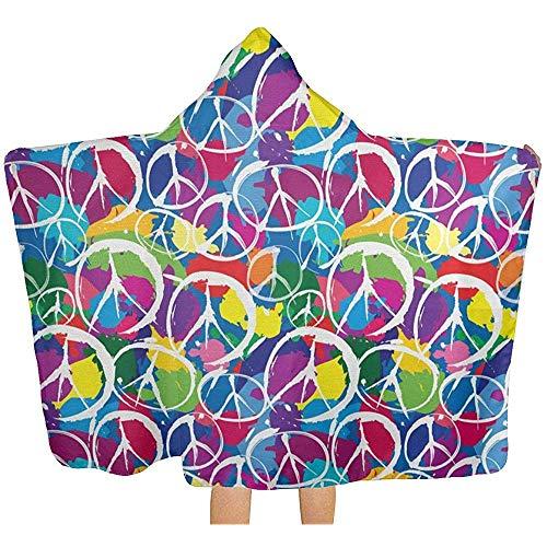 Gustave Tomlinson Couverture à Capuchon Universelle du Symbole du Signe de la Paix, Robe à Langer avec Couverture Multi-Usage pour Serviette de Bain de Piscine