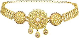 idealway Indian Style 14 K Gold Plated Crystal Flower Turquoise Waist Belly Chains Dancing Beach Belt Body Jewelry