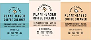 Unicreamer Vegan Non Dairy Coffee Creamer Sample Pack - Single Serve Individual Packets With Pea Protein Powder & MCT oil   Eco Friendly, Keto & Gluten Free Plant Based (Mix, 6 pack)