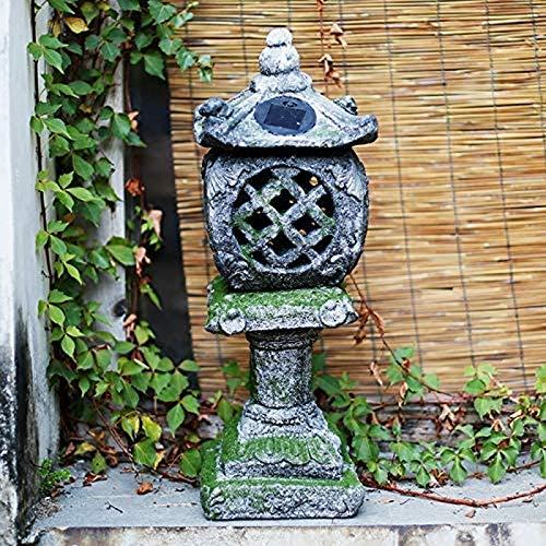 JJDSN Estatua al Aire Libre de la Linterna de la Pagoda, Estatua del Arte Solar de la Serenidad, decoracin del Acento del Paisaje Iluminado Estatuilla Retro del jardn para la Villa A del Patio