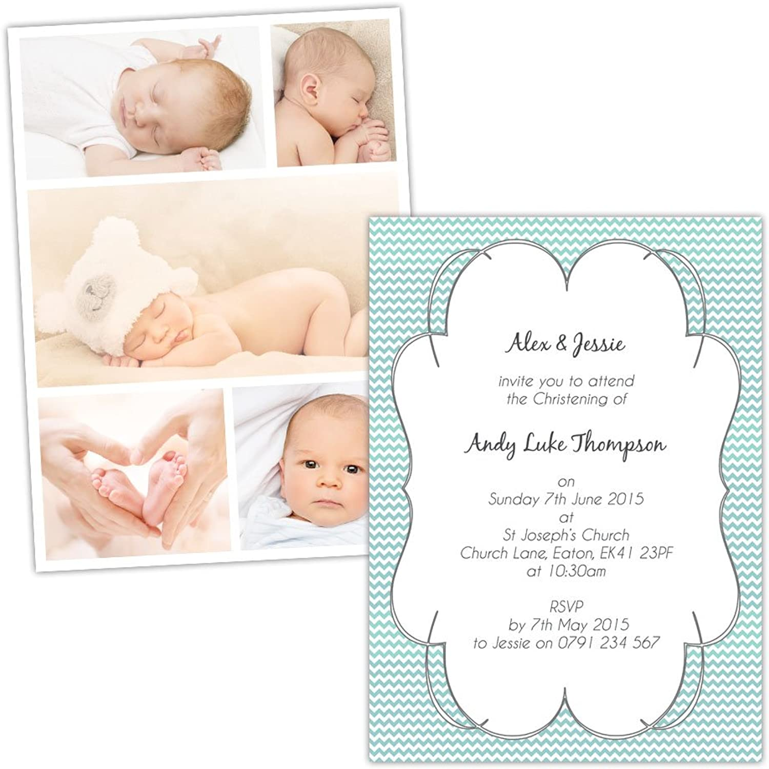 Made by Mika Personalised Christening invitations CHEVRON FRAME SWIRLY BORDER PHOTOS FREE DRAFT & FREE ENVELOPES (50, A5 singlesided Silk card)