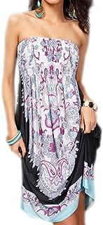 Womens Bohemian Strapless Dress Hot Summer Beach Sundress Casual Tee Dress