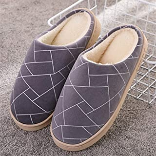 Cotton Slippers Women Home Interior Men's Home Cotton Drag Men Autumn Plush Warm Non-Slip Cotton Shoes Slippers Anti-Skid Indoor Cosy Shoes (Color : Gray, Size : 42-43)