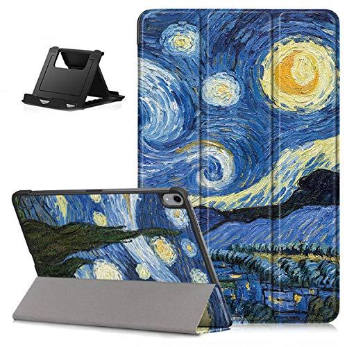 Shinyzone Hülle für Neue iPad Air 4.Generation 10.8 Zoll 2020, Schutzhülle Dreifach Ständer Leder Folio Magnetisch Smart Auto Wake/Sleep Cover für iPad 10.8 Zoll 2020,Sternenklarer Himmel
