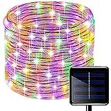 picK-me Luces de Cuerda Solar, Impermeable al Aire Libre 100 LED 33 FT / 10 M, Luces de hadas, Tubo de Luz de PVC para La Fiesta de Boda del Arbol de La Cerca del Jardín (Multicolor, 10M)