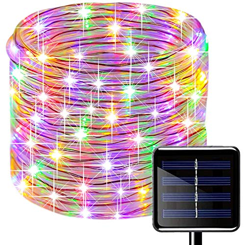 SUNSEATON Solar Rope Lights,200 LEDs 66ft/20M Waterproof Solar String Copper Wire Light,Outdoor Rope Lights for Garden Yard Path Fence Tree Wedding Party Decorative (66ft/20M, Multi)