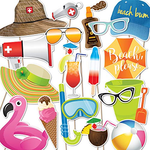Beach Luau Pool Photo Booth Props | 18 piece set by Paper and Cake | Flamingo Float, Beach Ball, Umbrella, Lifeguard Hat, Snorkel and more | Great for Birthday Parties and Events