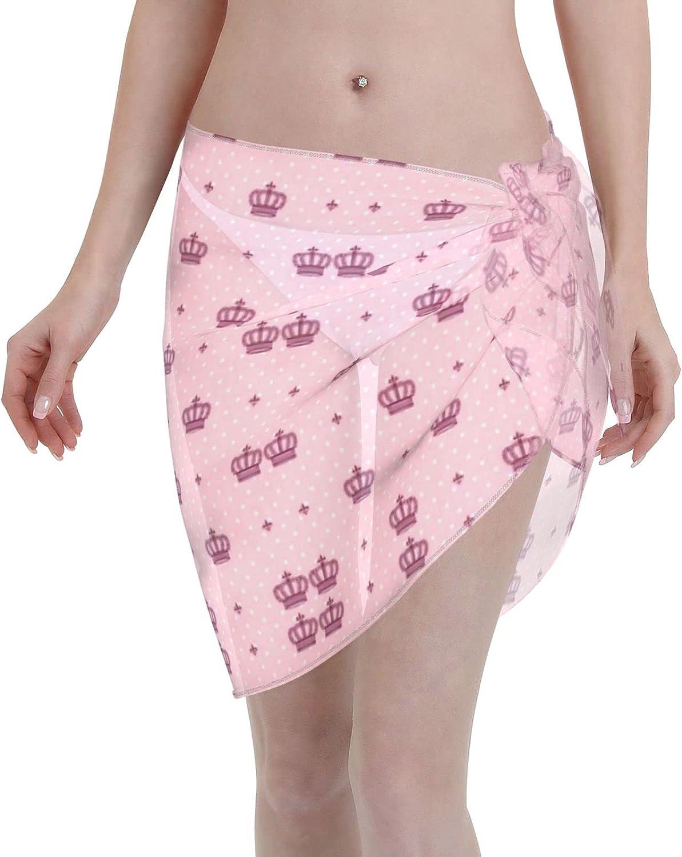 Royal Crown Imperial Women Chiffon Beach Short Sarongs Cover Ups Beach Swimwear Wrap Skirt for Vocation Black