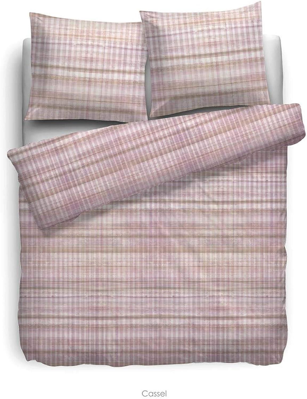 HNL Parure de lit en Satin de Coton mako Cassel Rose, 135 x 200 cm