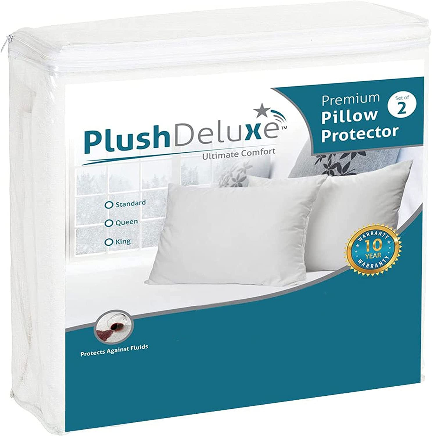 PlushDeluxe Premium Pillow New arrival Protector Mail order 100% S Proof and Waterproof