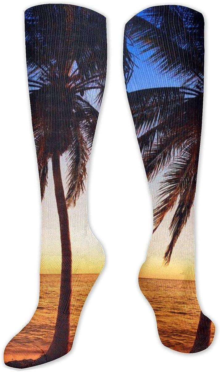 Tropics Sunrises Palms Knee High Socks Leg Warmer Dresses Long Boot Stockings For Womens Cosplay Daily Wear