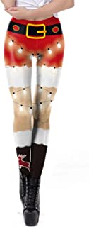 Fascivonne Womens Digital Print Ugly Christmas Leggings Footless Tights