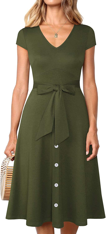 YATHON Women's Elegant Tie VNeck ALine Casual Party Dresses Vintage Button Down Swing Midi Dress